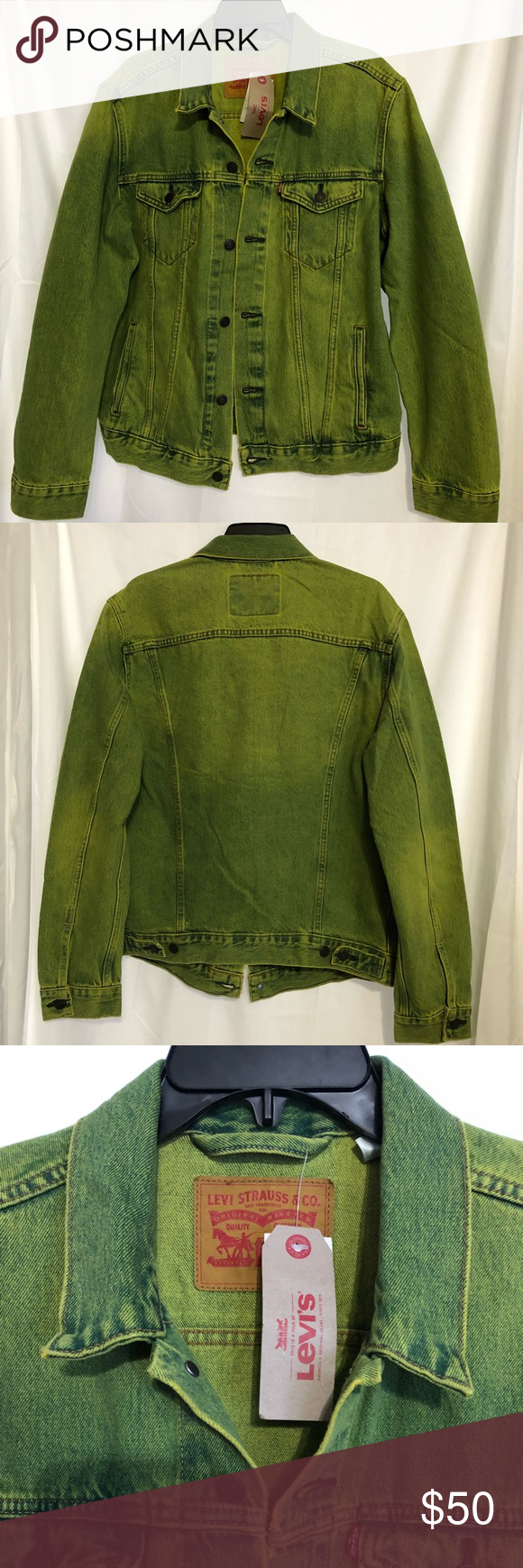 Mens Levi S Trucker Neon Green Denim Jacket Large Green Denim Jacket Denim Jacket Levi [ 1740 x 580 Pixel ]