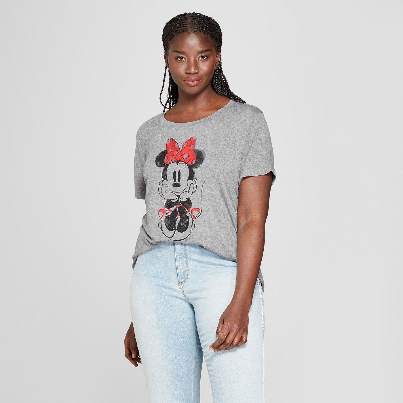 c68b7eaf Women's Disney Plus Size Minnie Mouse Short Sleeve Watercolor Graphic T- Shirt (Juniors') Gray 1X #Minnie, #Mouse, #Short