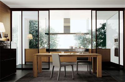 Cocina y comedor separados con cristal cocinas for Separacion cocina salon