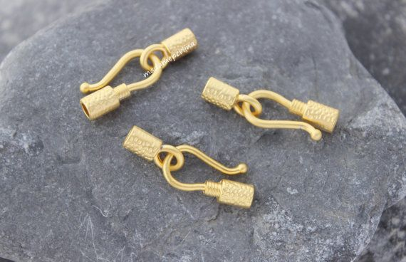 5 Set of Hook eye Clasp matte gold Plated copper by madameperlina