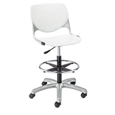 KFI Seating Kool Poly Adjustable Mid Back Drafting Chair Color: White/White