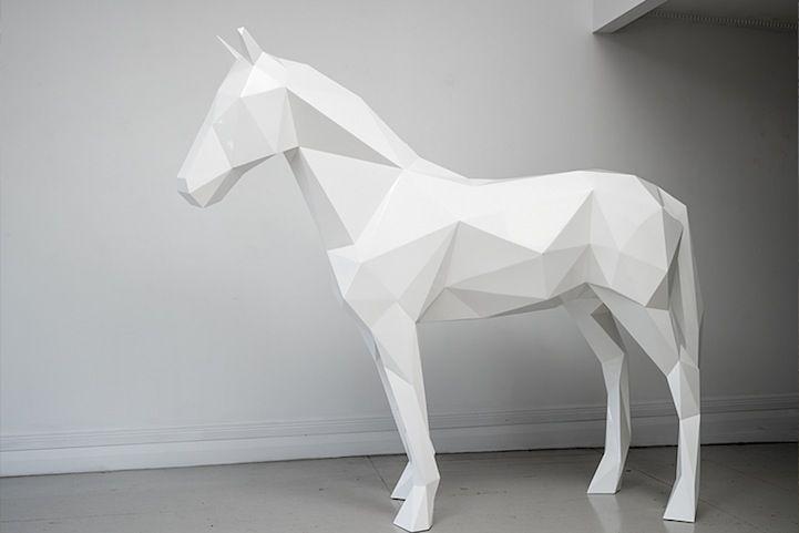 Stark White Geometric Animal Sculptures by Ben Foster - My Modern Metropolis