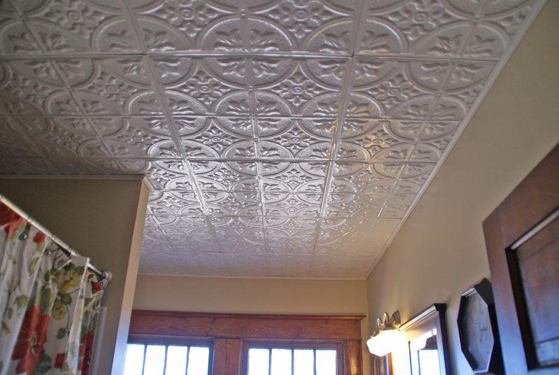 Fough Tin Ceiling In Bathroom Tiles