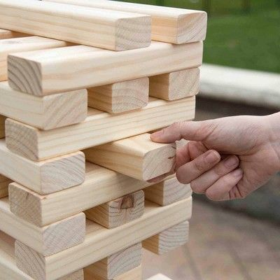Hey Play Nontraditional Giant Wooden Blocks Tower Stacking Game
