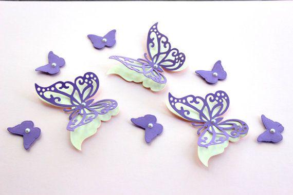 3d Butterfly Wall Art Purple Butterfly Art By Mydreamdecors