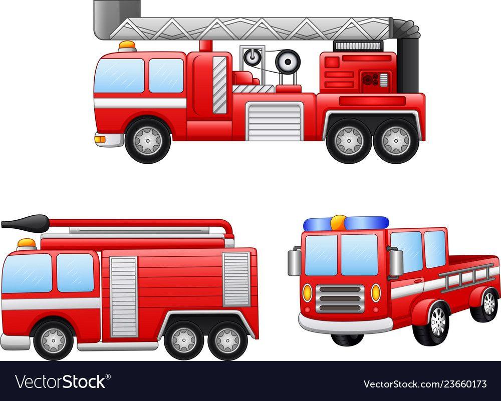 Fire Truck Cartoon Vector Image On Vectorstock Cartoons Vector Cartoon Fire Trucks