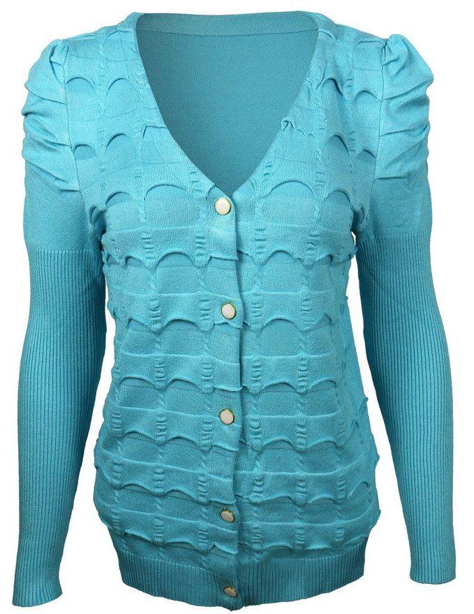 OCIA Womens Puff Sleeve Cardigan Sky Blue | Women's Sweater ...