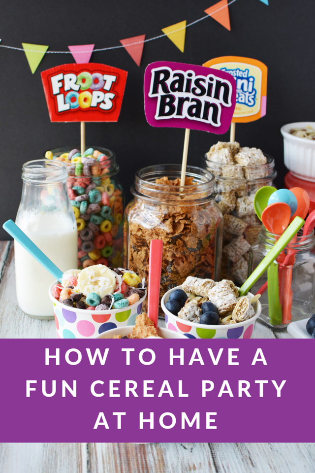 Here's how to have a fun cereal party right at home! #ad Do your kids love sleepovers? This is perfect for next morning with fun scoops, cups, and toppings! #KelloggsCerealYourWay @KelloggsUS