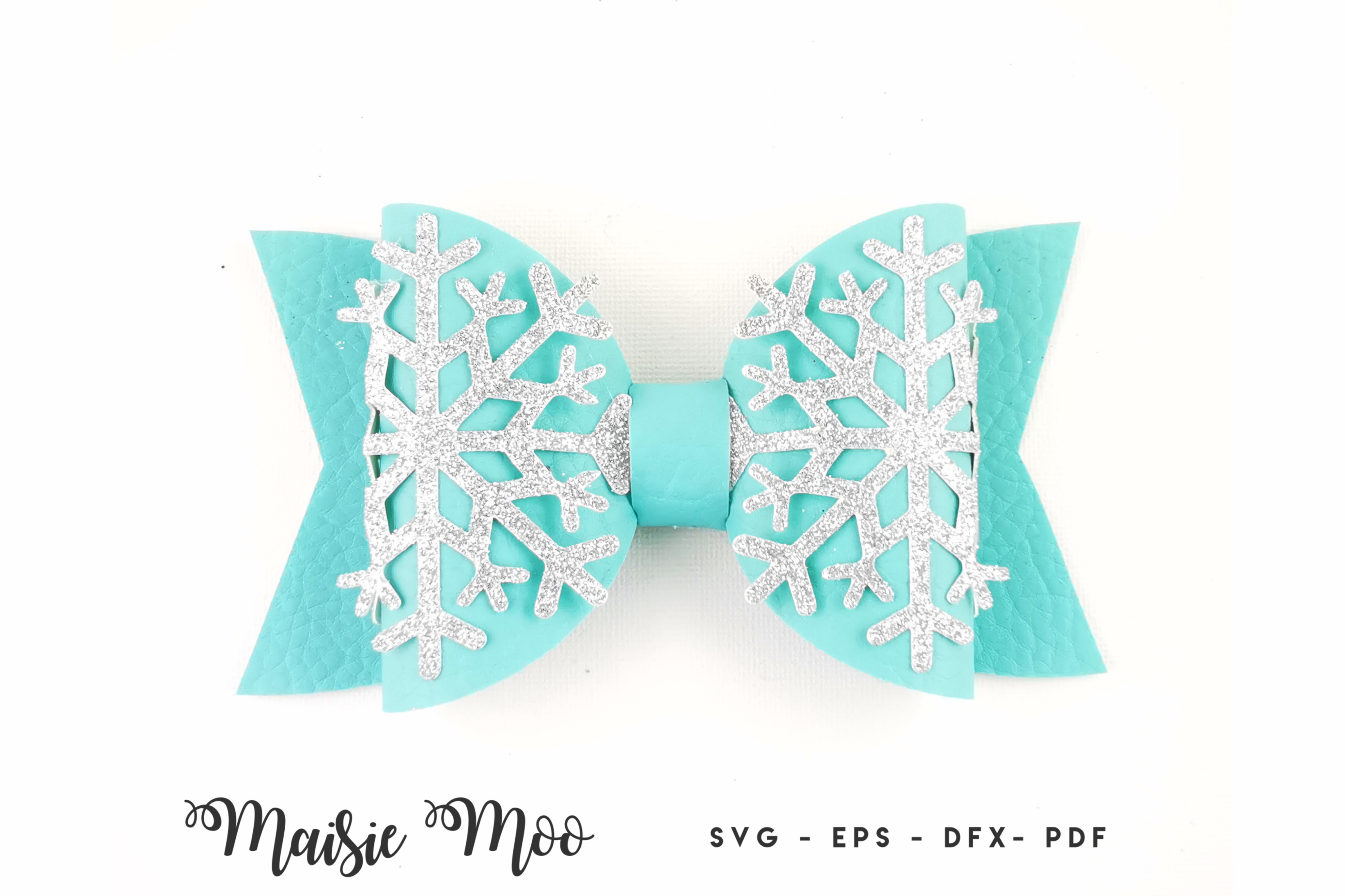 Christmas Bow SVG, Frozen Snowflake Bow Template Bow