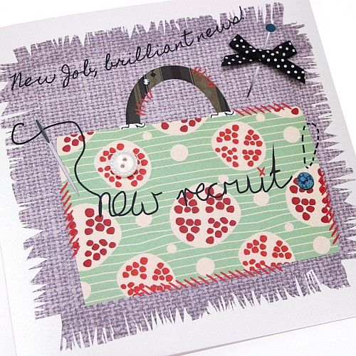 Handmade New Job Card Briefcase Sewing Appliqué Patchwork Needle Crafts New Job, New Recruit, Brilliant News!