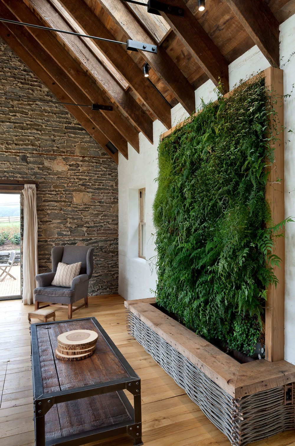 Contemporary hallway ideas  Green wall A Modern Reinterpretation of a Historical Rural House in