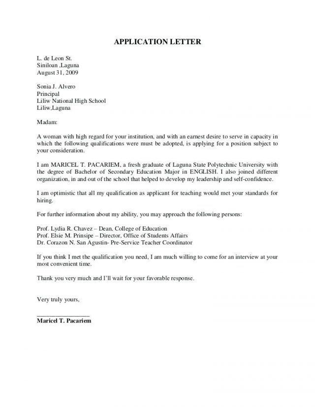 Application Letter Sample For Fresh Graduate Computer Science With Application Letter For Application Letters Application Letter Sample Effective Cover Letter