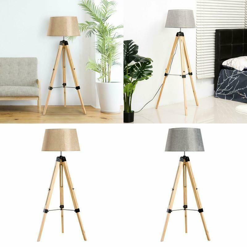 Modern Tripod Floor Lamp Linen Shade Adjustable Wooden