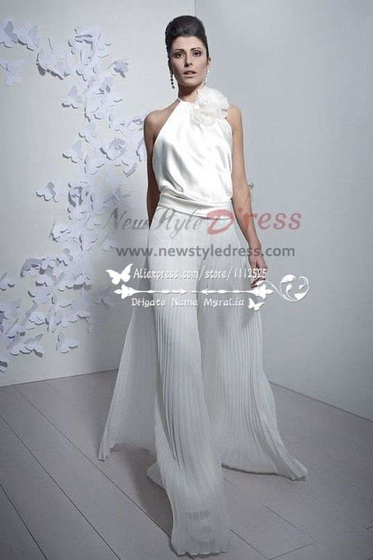 645fd1c7e37 Charming bridal jumpsuit Halter wide legs accordion pleats pants culottes  wps-033