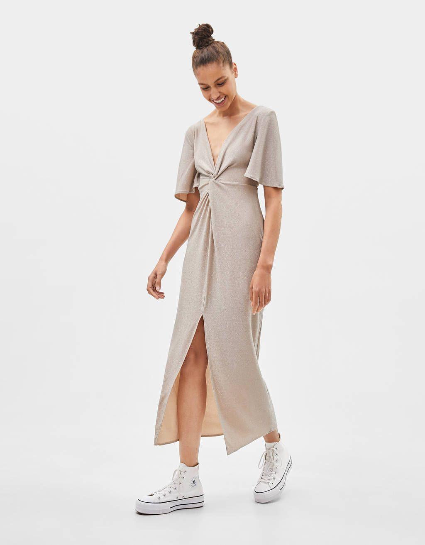 Dugumlu Uzun Elbise Elbise Bershka Turkey Uzun Elbise Elbise