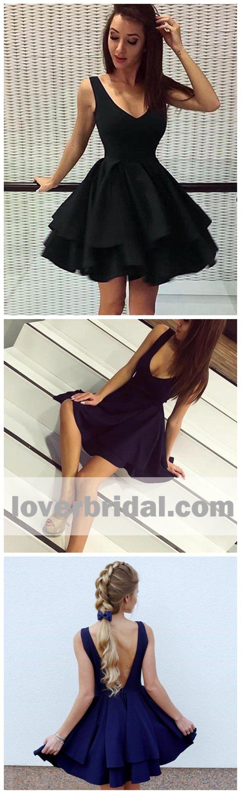 Cheap short simple v neck black homecoming dresses online cm in