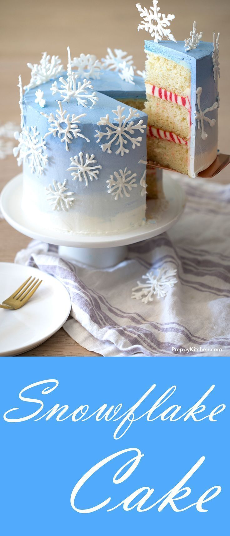 Winter Snowflake Cake with a Peppermint cream filling  Candy melt snowflakes make this peppermintkissed cake a showstopper  Cake recipes holiday desserts winter desserts...