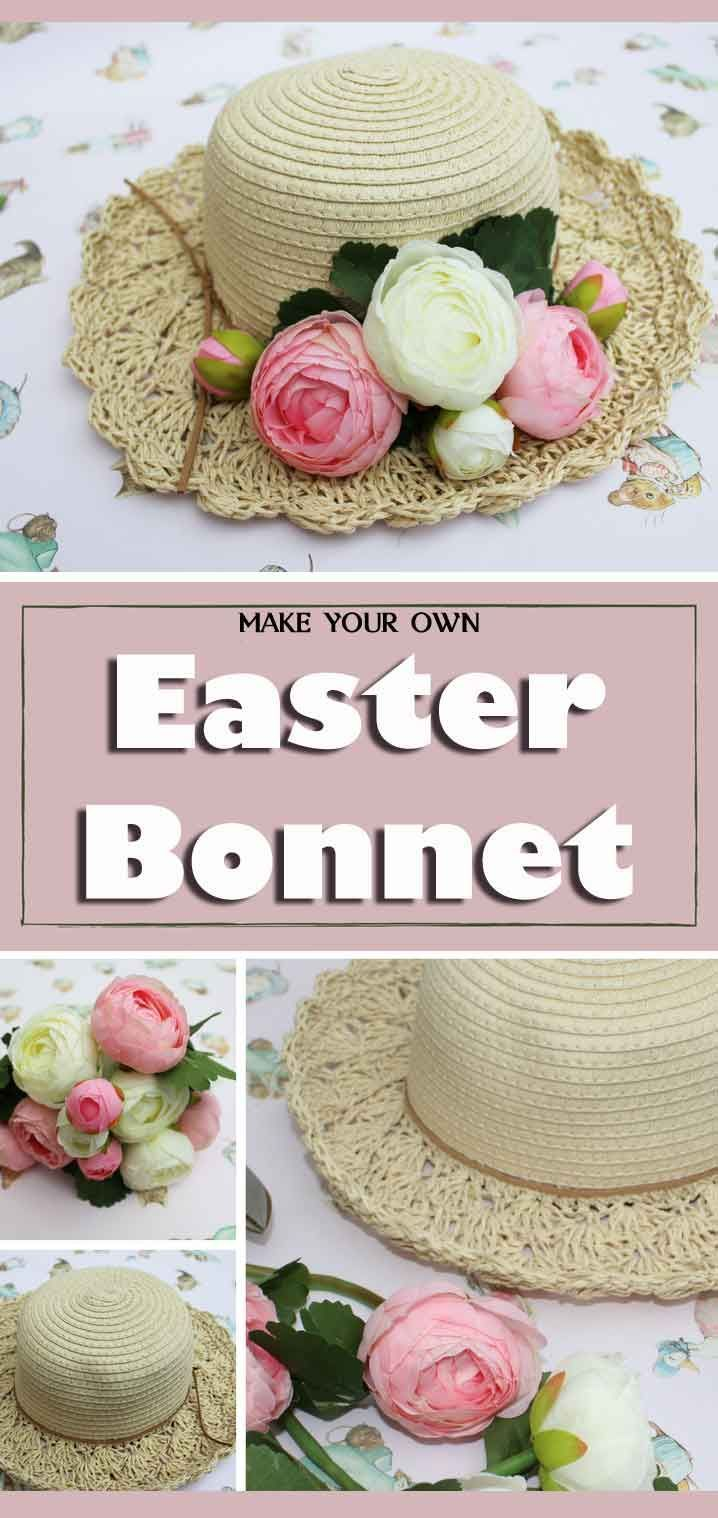 How To Make A Lovely Easter Bonnet Using A Plain Straw Hat And Silk Flowers Use Artificial Flowers To Decorate A Simp Easter Bonnet Straw Hat Diy Easter Hats