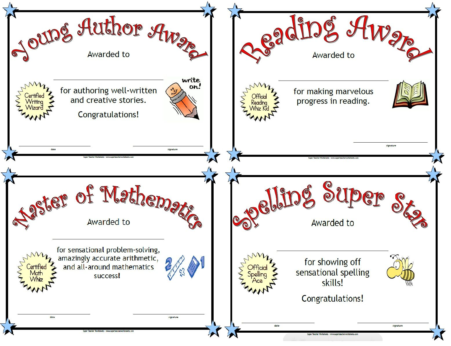 Worksheets Superhero Teacher Worksheets print these award certificates to celebrate students learning for kids