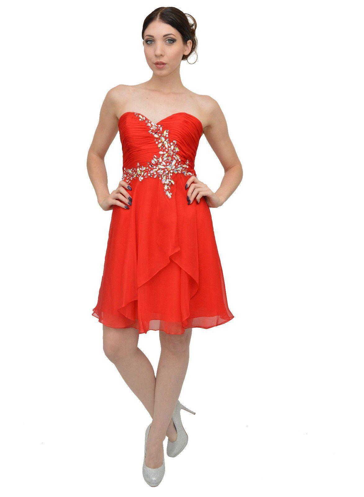 Elegant gorgeous strapless short bridesmaid dress formal coral