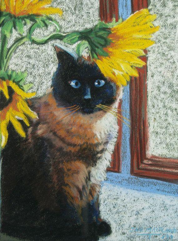 Kat staand Fine Art Giclee Print Siamese kat door maitlandartprints