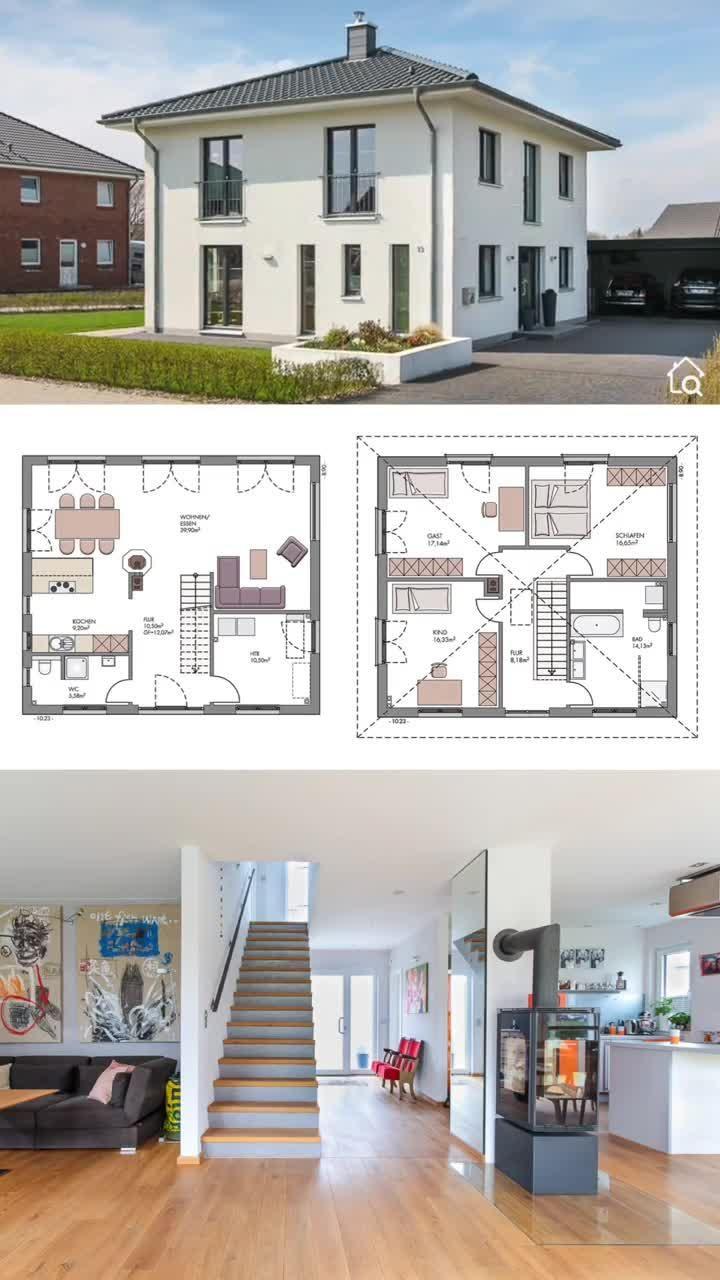 Massivhaus Stadtvilla modern mit offenem Haus Grundriss & Zeltdach Einfamilienhaus massiv bauen
