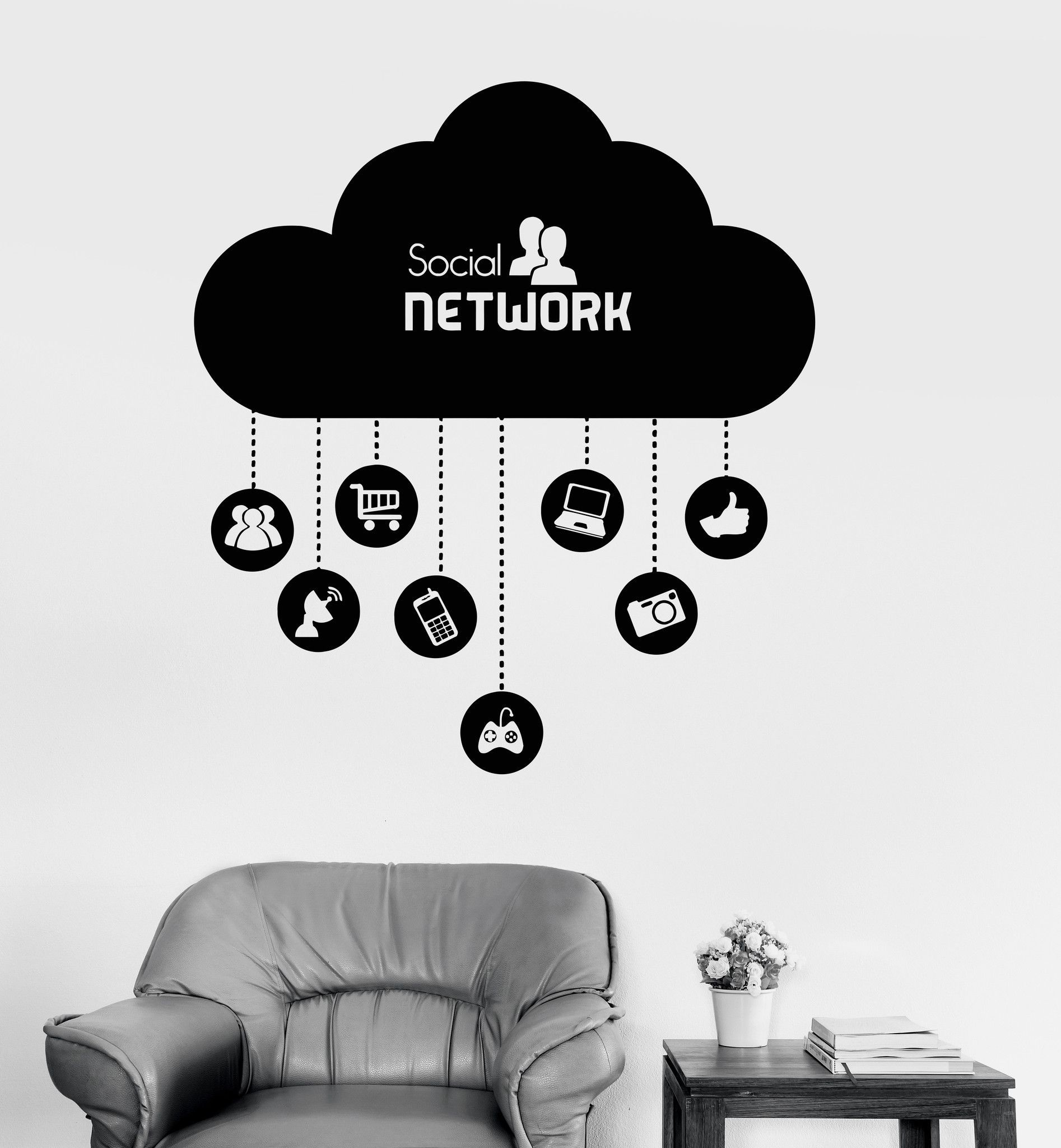Vinyl Wall Decal Cloud Social Network Computer Technology IT - Locations where sell wall decals
