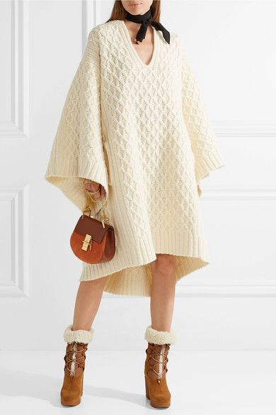 Cream Oversized cable knit wool sweater dress | Chloé | Wool