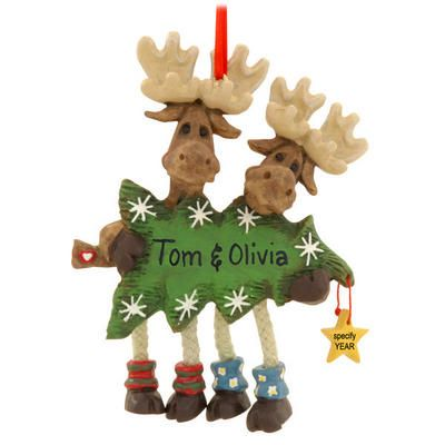 Personalized Moose Couple With Tree Ornament Ornament Pinterest - moose christmas decorations