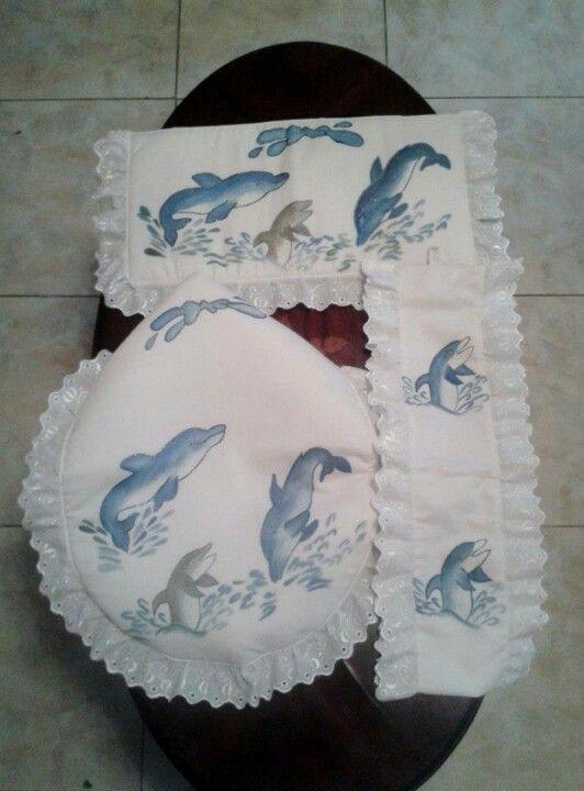 Juego de baño con Delfines pintado en tela pedidos a ...