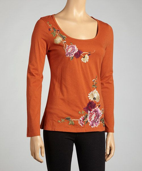 Take a look at the Brick Ivy & Floral Long-Sleeve Top on #zulily today!