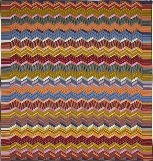 Rosita Zigzag Quilt Fabric Pack at Glorious Color.  The pattern appears on page 150 of 'Kaffe Fassett Quilts: Shots and Stripes' (STC/Melanie Falick Books).  The design was inspired by Rosita Missoni of Missoni Designs.
