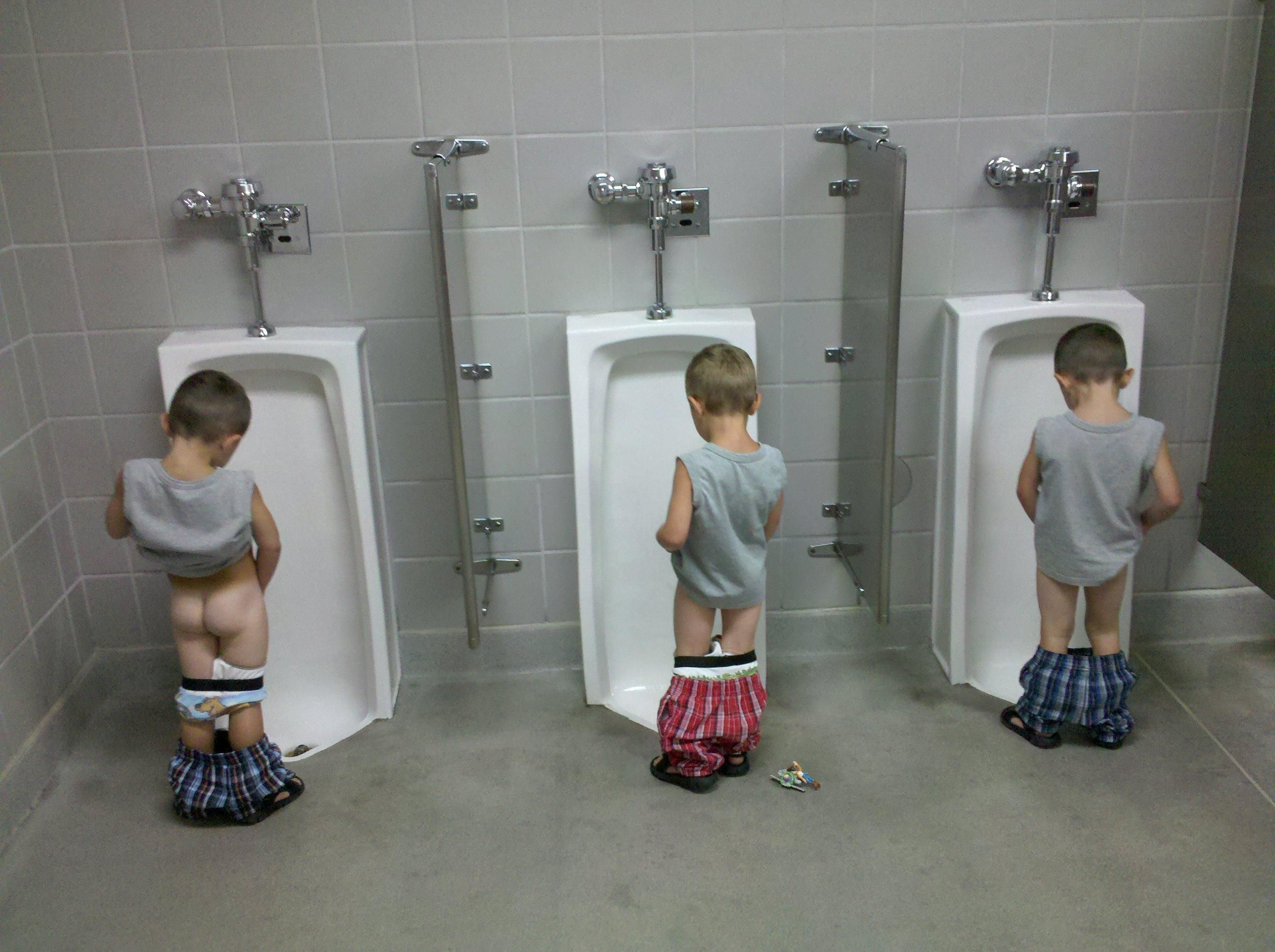 1 Of My Favorite Pics Tripletsthe First Time Using A Urinal
