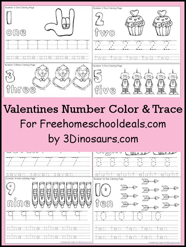 Valentines Number Color & Trace   Number, Homeschool and Pre-school