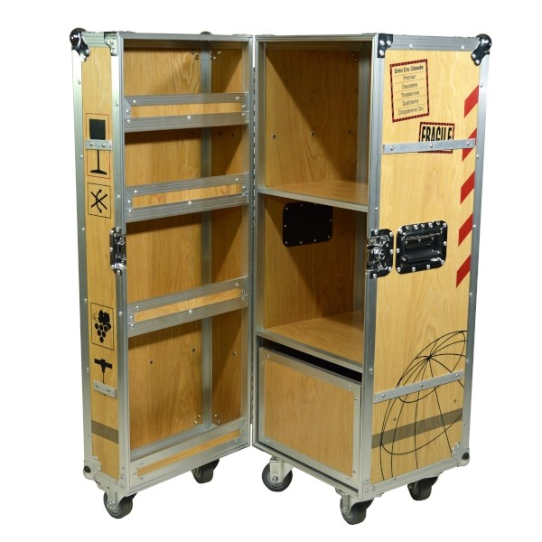 Multicase Wood Wine Crate Rollende Weinkiste Fur Wohnungen Buros Und Lofts In 2020 Weinkiste Flugzeugtrolley Kiste
