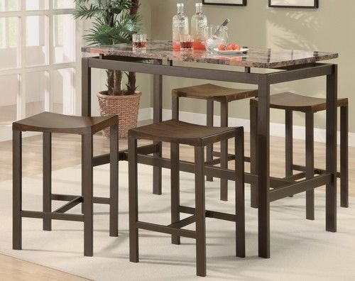 Coaster 5 Pc Industrial Brown Counter Height Dining Set Top Kitchen Table Tall Kitchen Table Counter Height Dining Table