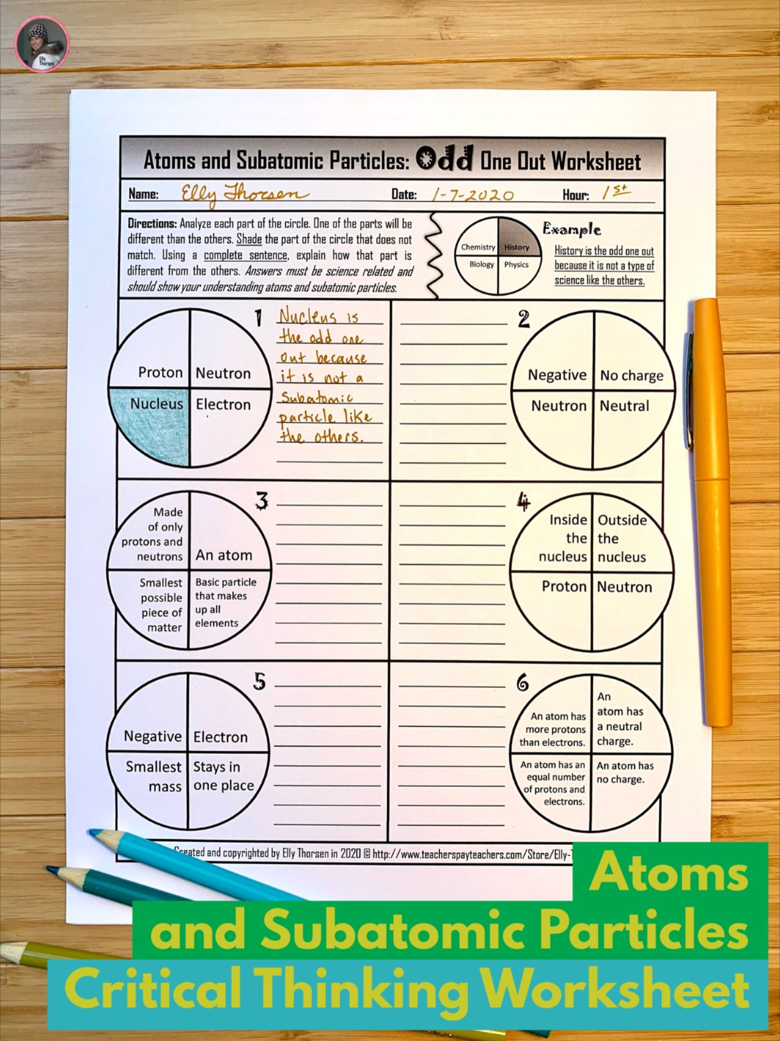 Atoms And Subatomic Particles Critical Thinking Worksheet For Middle School Physical Science Physical Science Middle School Physical Science Science Homework [ 2048 x 1536 Pixel ]