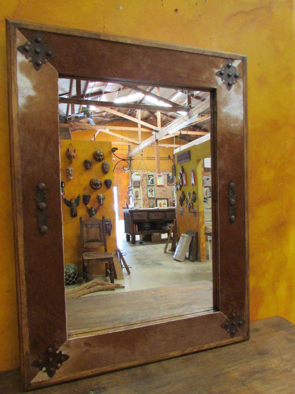 Bathroom Vanity Cowhide Medallion Mirror Wood Mexican 34x34 Rustic Cowboy Clavos Western Lodge Handmade Custom Large