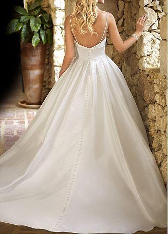 Elegant Satin Ball Gown V Neck Spaghetti Strap Raised Waist Wedding Dress With Handmade Flowers Ball Gown Wedding Dress Plain Wedding Dress Ball Gowns Wedding