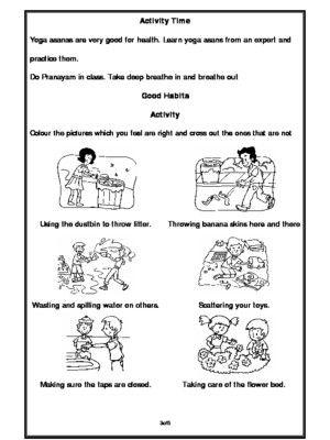 Good Habits Worksheet For Kindergarten
