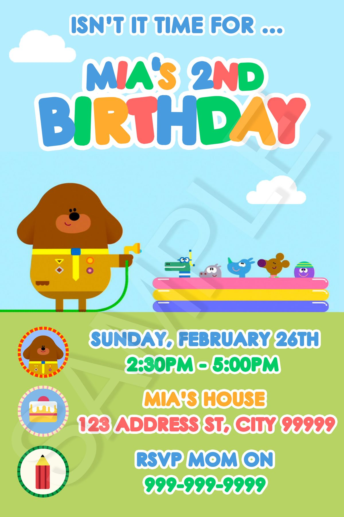 Hey Duggee Duggie Birthday Party Invite Invitations Pool Party ...
