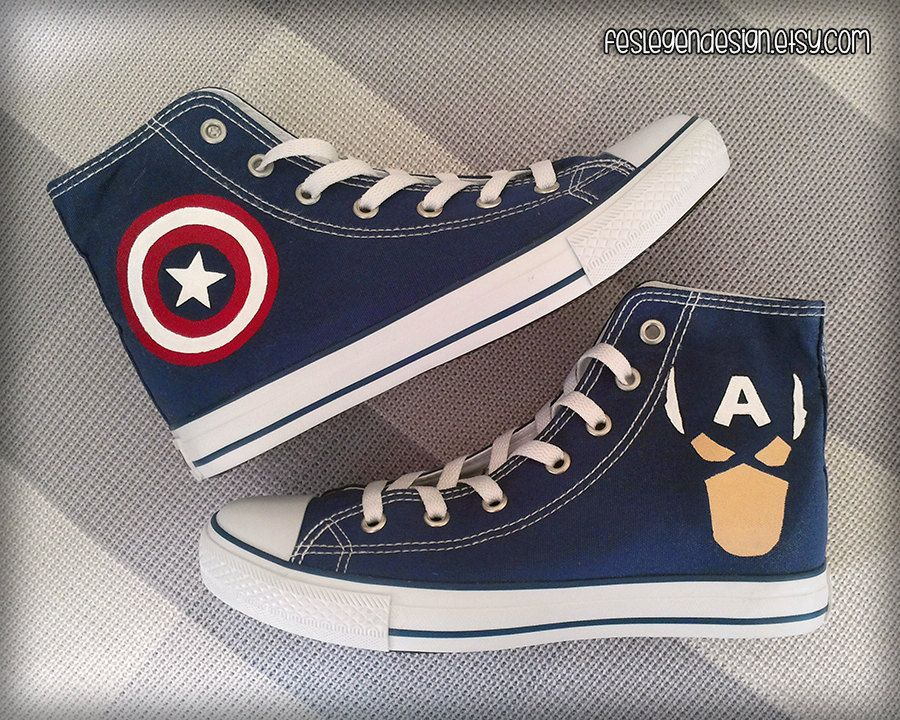 Captain America Custom Converse Painted Shoes by