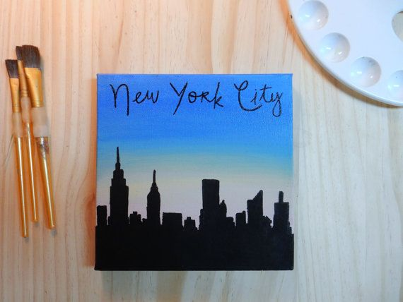 New York City Skyline Silhouette Handmade Canvas By