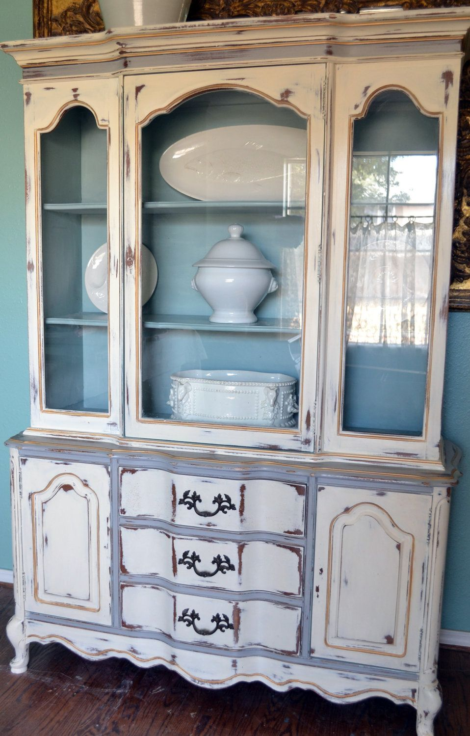 French china cabinet hutch white gray blue gold distressed for Living room hutch