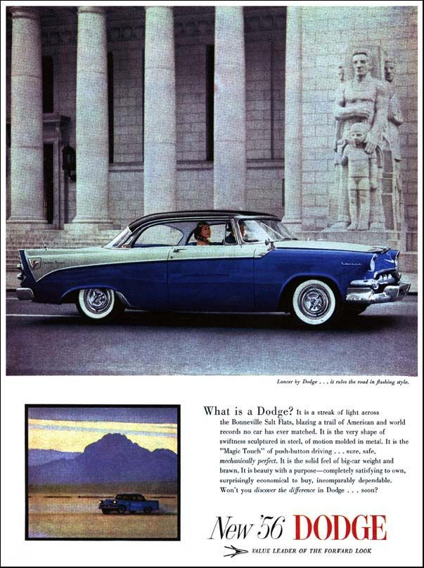 """1956 Dodge Ad: """"What is a Dodge?"""" - http://wildaboutcarsonline.com/"""