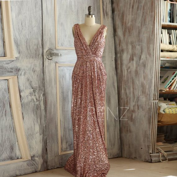 2017 Short Rose Gold Bridesmaid Dress Sequin, V Neck Luxury Sheath ...