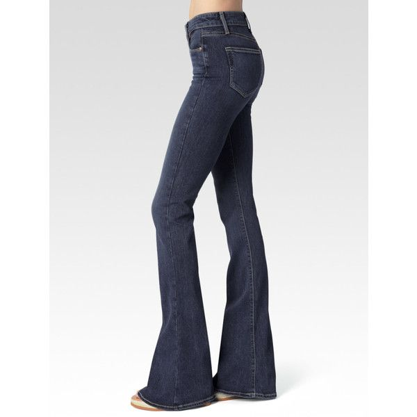 Paige High Rise Lou Lou Flare - Amaris ($209) ❤ liked on Polyvore featuring jeans, amaris, denim, pants, high-waisted skinny jeans, high waisted jeans, flared jeans, white flared jeans and flare jeans
