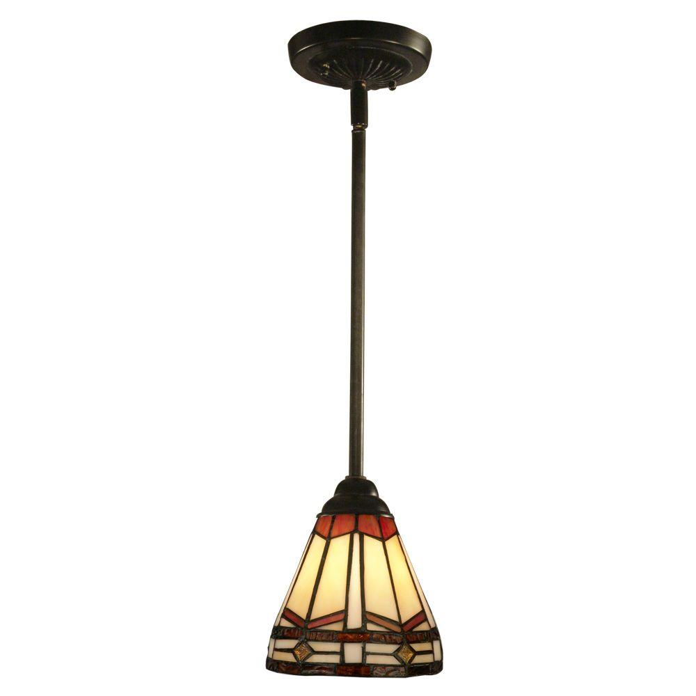 Exceptional Dale Tiffany Jewel Mission 1 Light Antique Bronze Hanging Mini Pendant Lamp STH11011