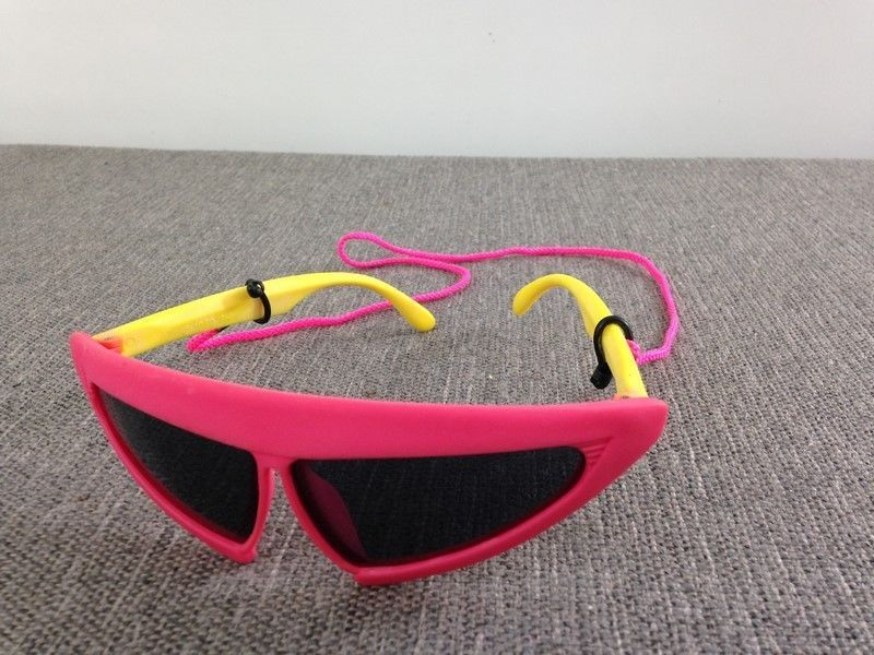 Vintage 1989 Sunglasses PHI Pink & Black with Cord 80s