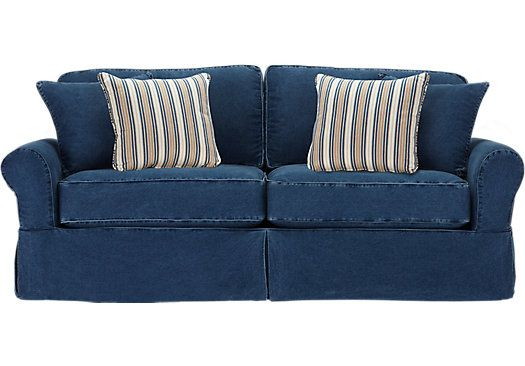 Shop for a cindy crawford home beachside blue denim sofa at rooms to go find sofas that will Denim couch and loveseat